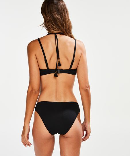 Scallop Glam Padded Underwired Bikini Top, Black