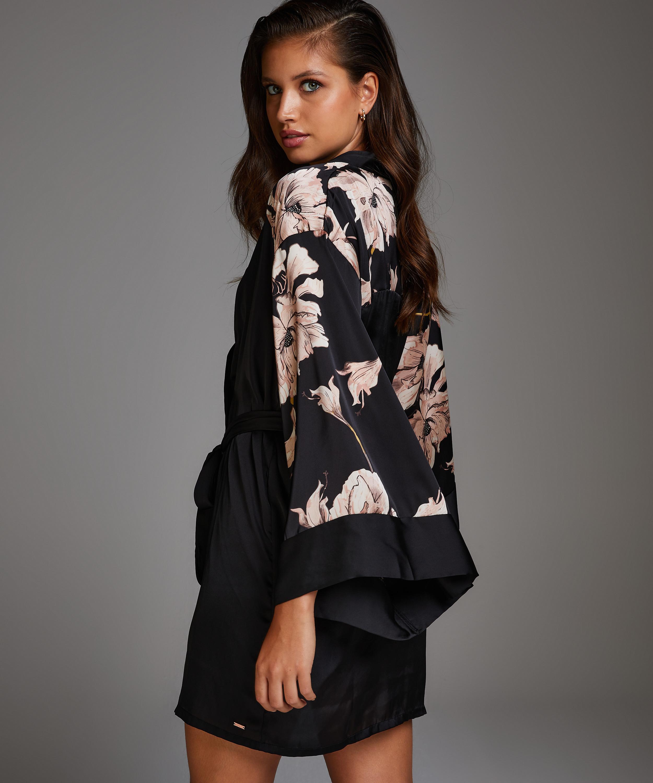 Bloom Satin Kimono, Black, main