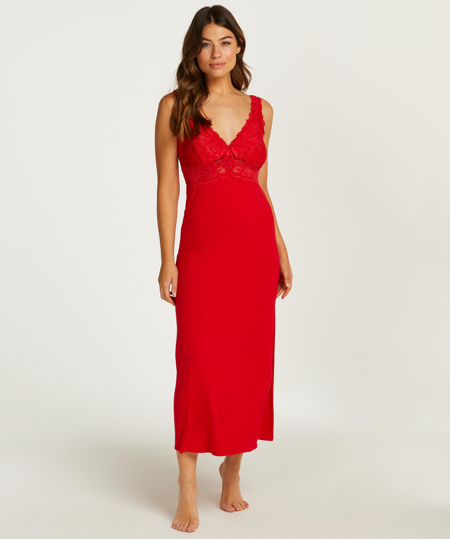 Nora Lace Long Slip Dress, Red, main