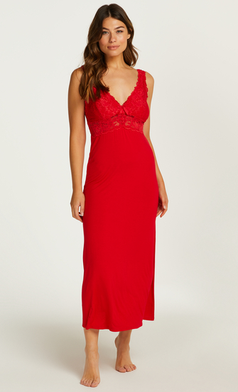 Nora Lace Long Slip Dress, Red