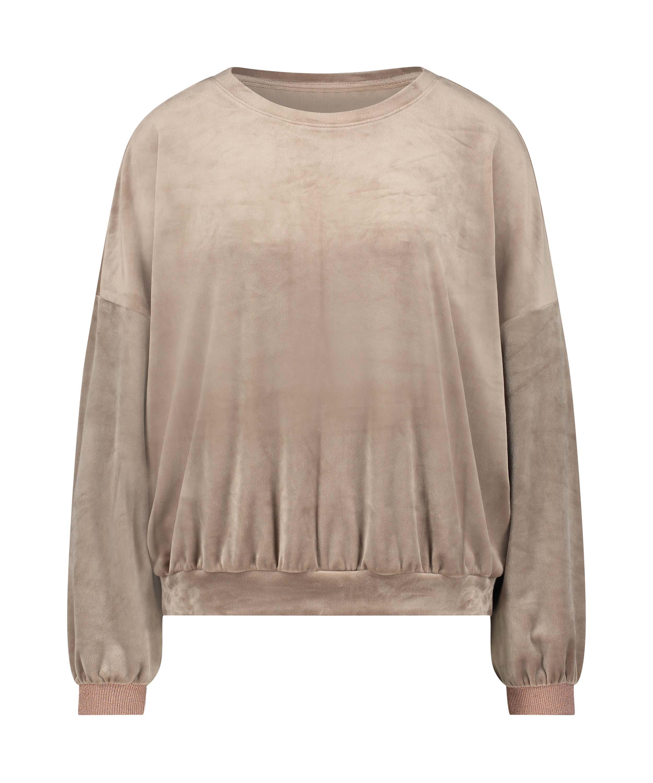 Lurex velours top, Brown, main