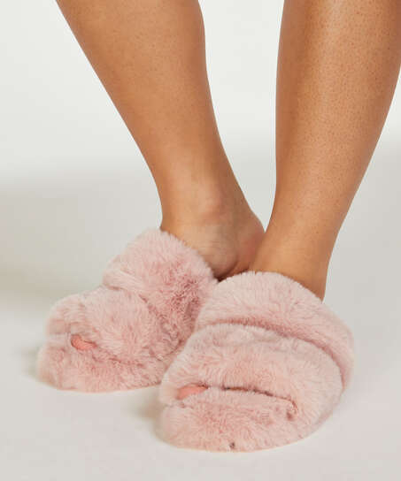 Fake Fur Slippers, Pink