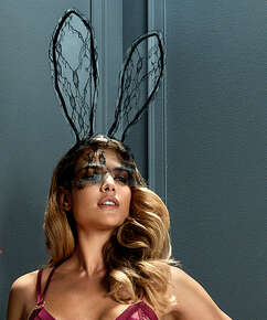 Private Lace Bunny Mask, Black