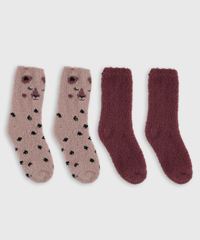 2 Pairs Cosy Socks, Pink, main