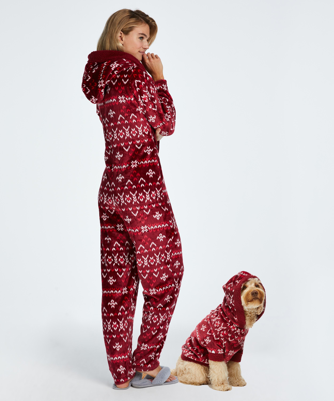 Flannel Fleece Onesie, Red, main