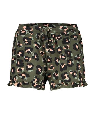 Leopard Ruffle Jersey Shorts, Green