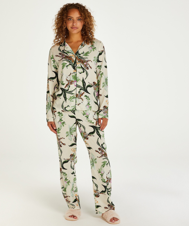 Twill Long-sleeved Pyjama Top, Pink, main