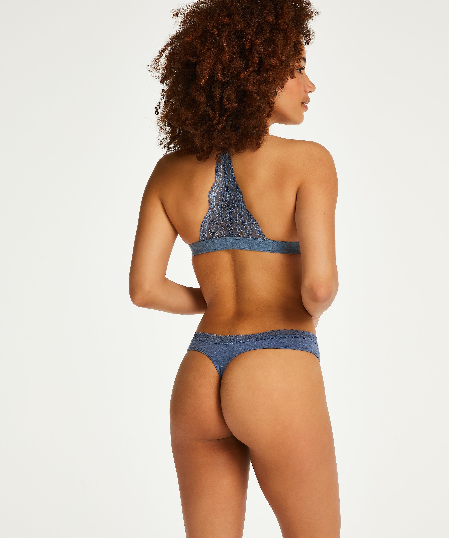 Chloe Cotton Padded Triangle Bralette, Blue, main