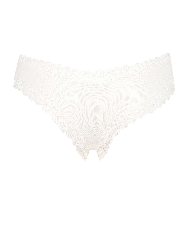 V-shaped Brazilian knickers mesh, White, main