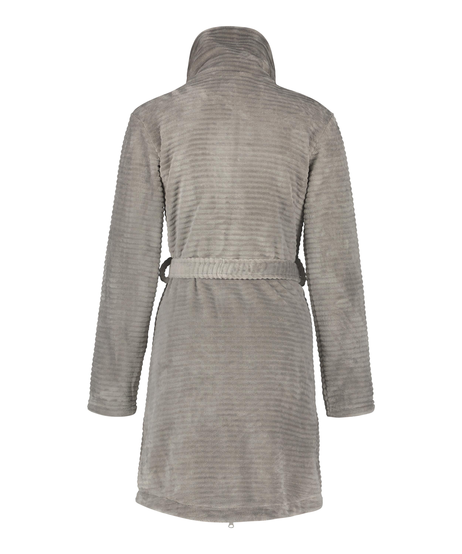 Fleece Zip Bathrobe, Grey, main