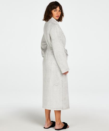 Long Fleece Bathrobe, Grey