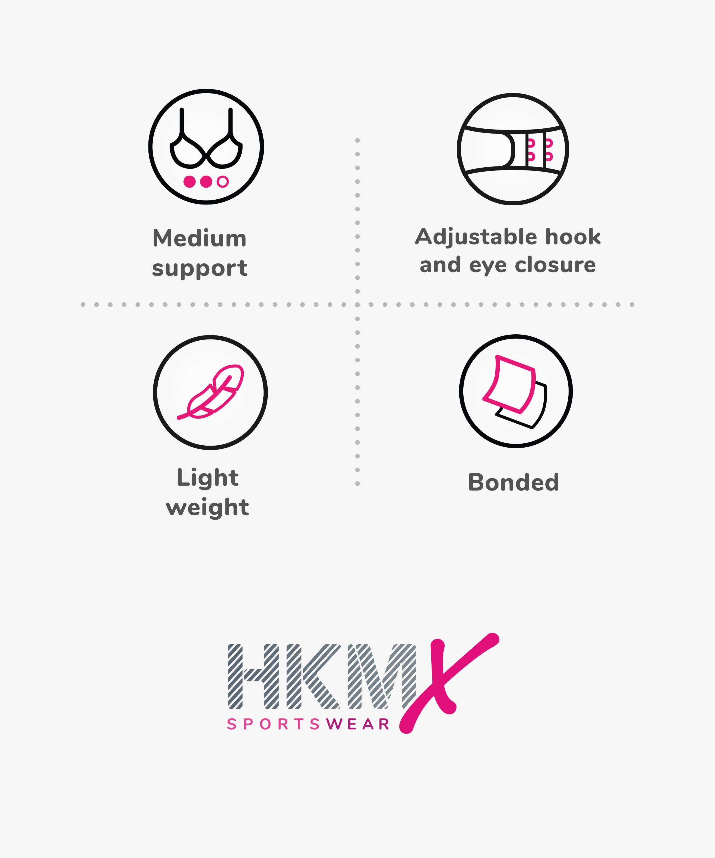 HKMX The Infinity sports bra level 2, Black, main