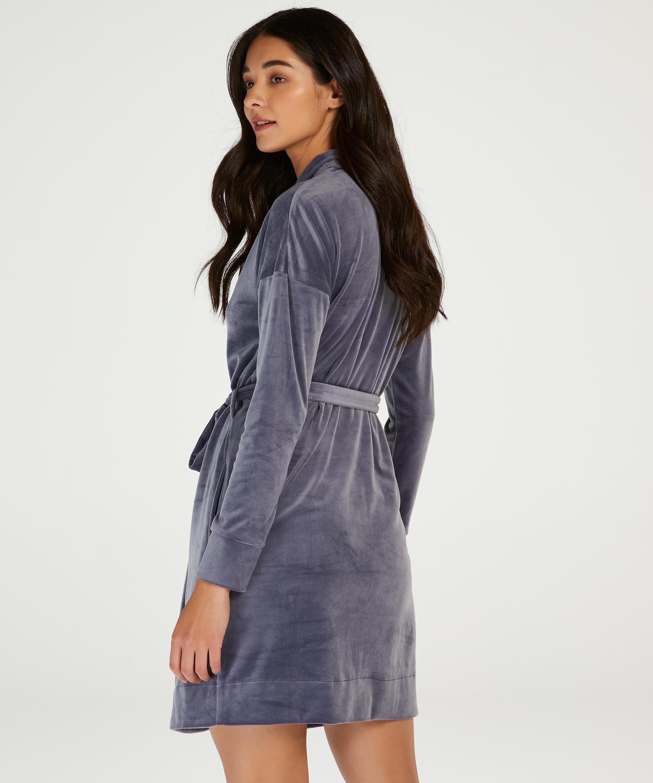 Velours short bathrobe, Grey, main