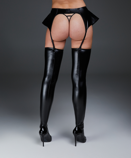 Leather-look private stay-ups, Black