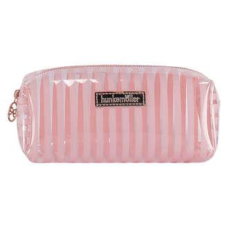 Stripe Plastic Make Up Bag, Pink