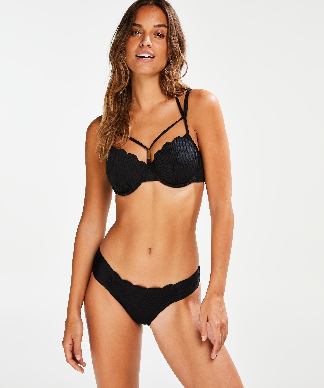 Scallop Glam Padded Underwired Bikini Top, Black, main