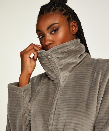 Fleece Zip Bathrobe, Grey