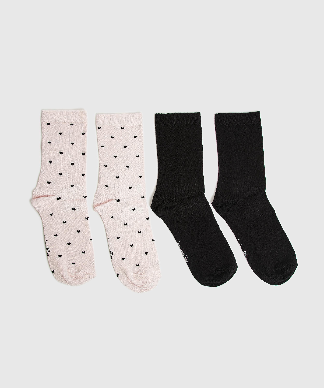 2P Viscose Socks, Pink, main