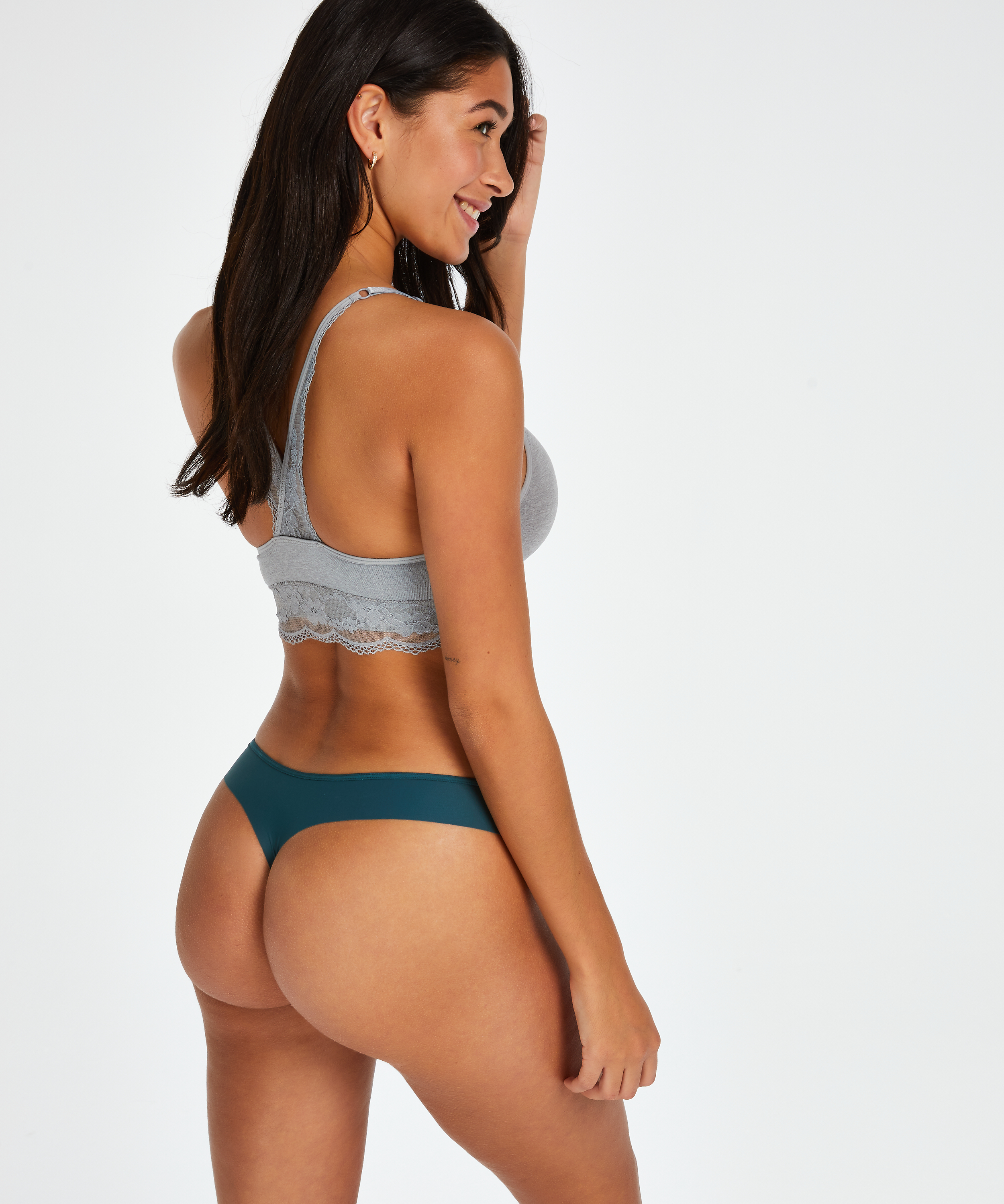 Burned Out Stripe Invisible Thong, Blue, main
