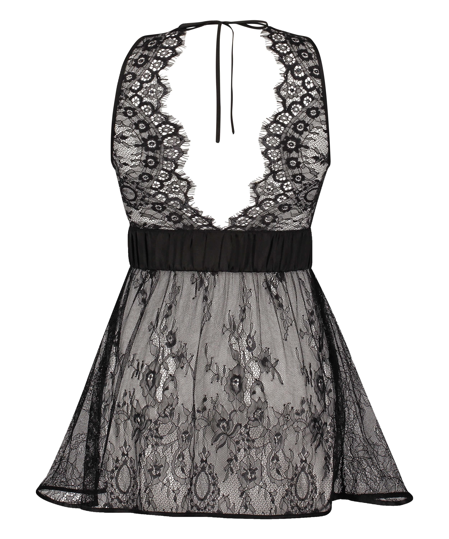 Lace Slip Dress, Black, main