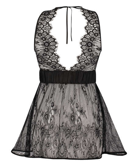 Lace Slip Dress, Black