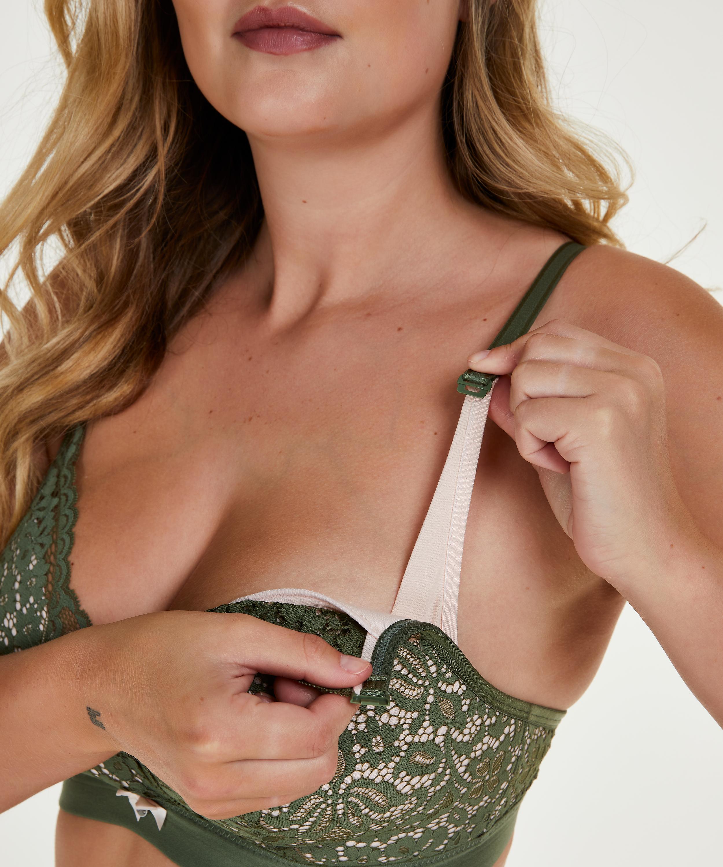 Rose padded nursing bra, Green, main