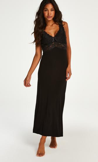 Long slip dress Modal lace, Black