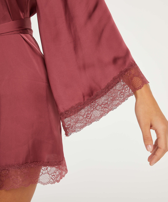 Meili Satin Kimono, Red, main