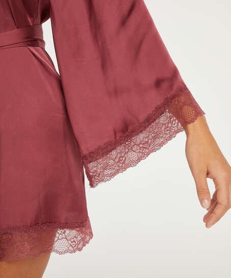 Meili Satin Kimono, Red