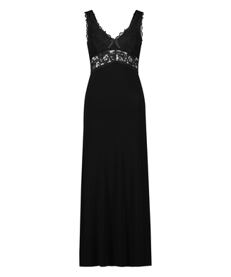Nora Lace Long Slip Dress, Black
