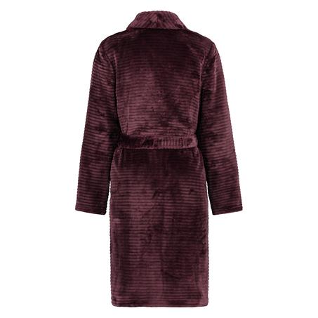 Short Fleece Ribbed Bathrobe, Red