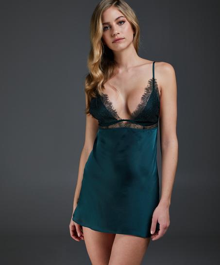 Satin Holly slip dress, Green