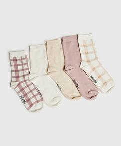 5 Pairs of Cotton Socks, Black