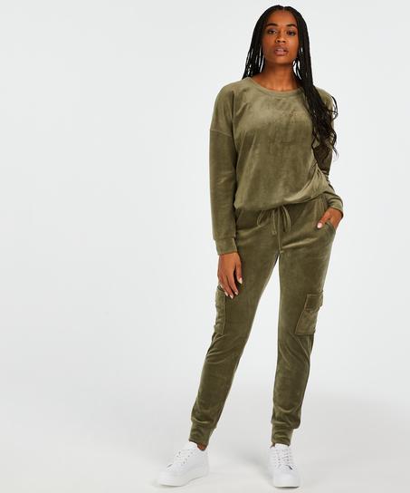 Velvet Jogging Pants Cargo, Green
