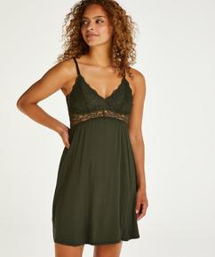 Vera jersey lace slip dress, Green