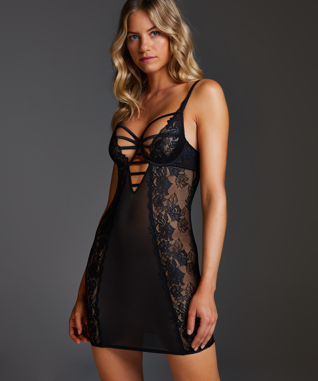 Sosha Padded Underwired Slip Dress , Black, main