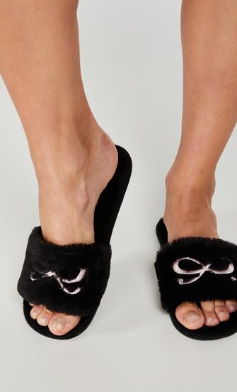 Bow Fake Fur Top slipper, Black
