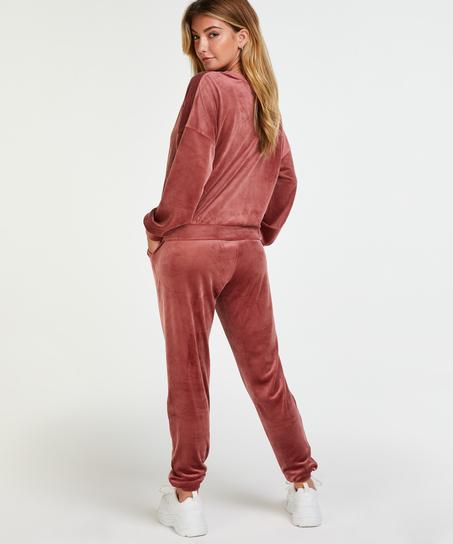 Petite Velour Jogging Pants Pin-tucked, Pink