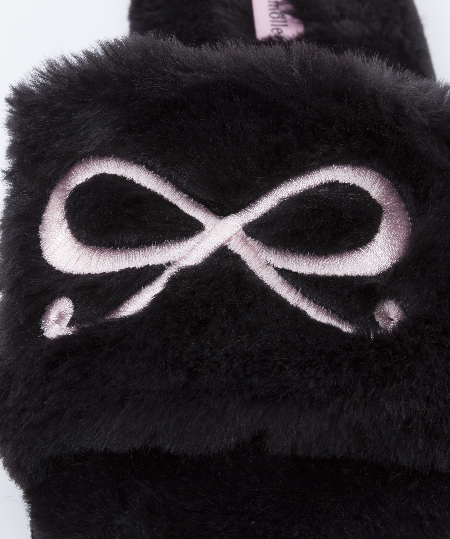 Bow Fake Fur Top slipper, Black, main