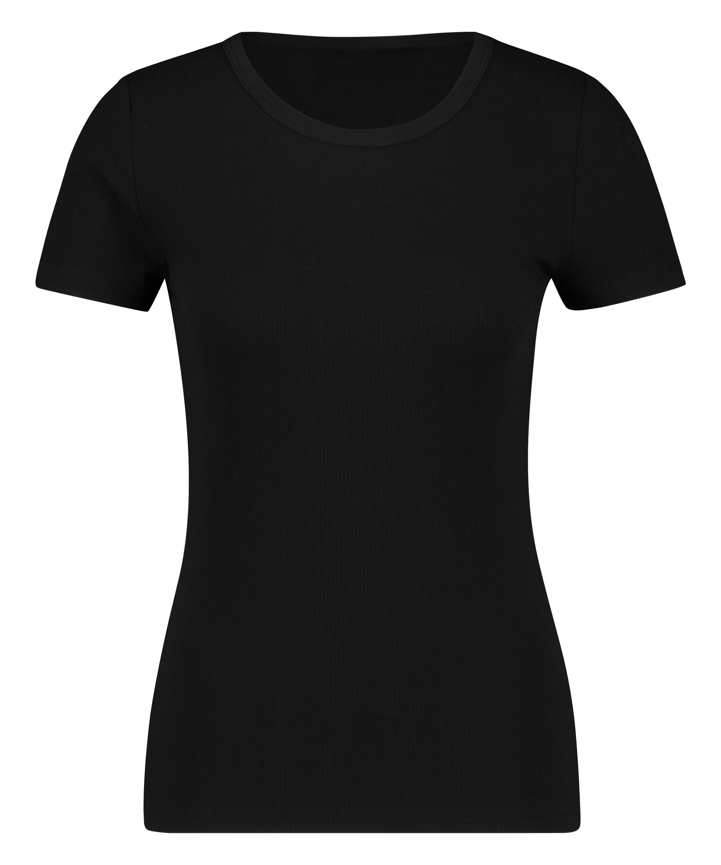 Ribbed Crew Neck Short-Sleeved Pyjama Top, Black, main