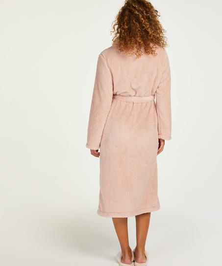 Long Fleece Bathrobe, Pink