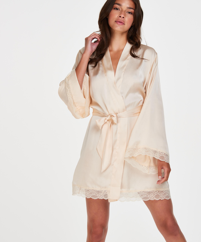 Meili Satin Kimono, Beige, main
