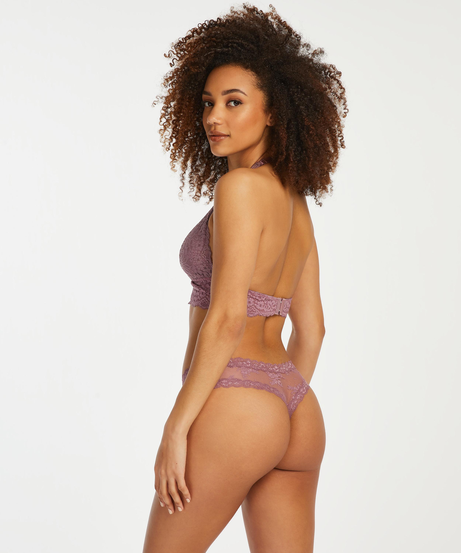 V-shaped Brazilian knickers mesh, Purple, main