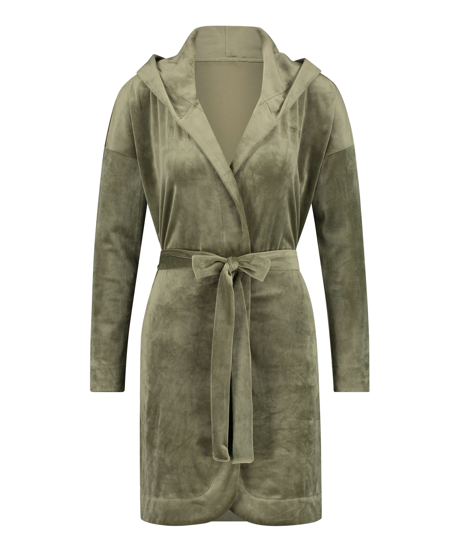 Velours short bathrobe, Green, main