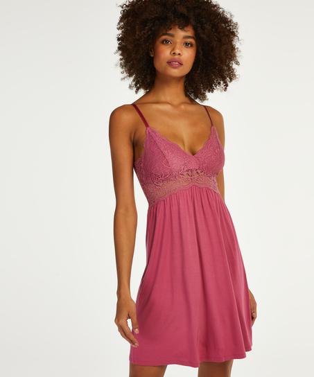 Vera jersey lace slip dress, Pink