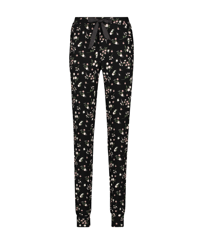 Tall Ditzy Floral pyjama bottoms, Black, main