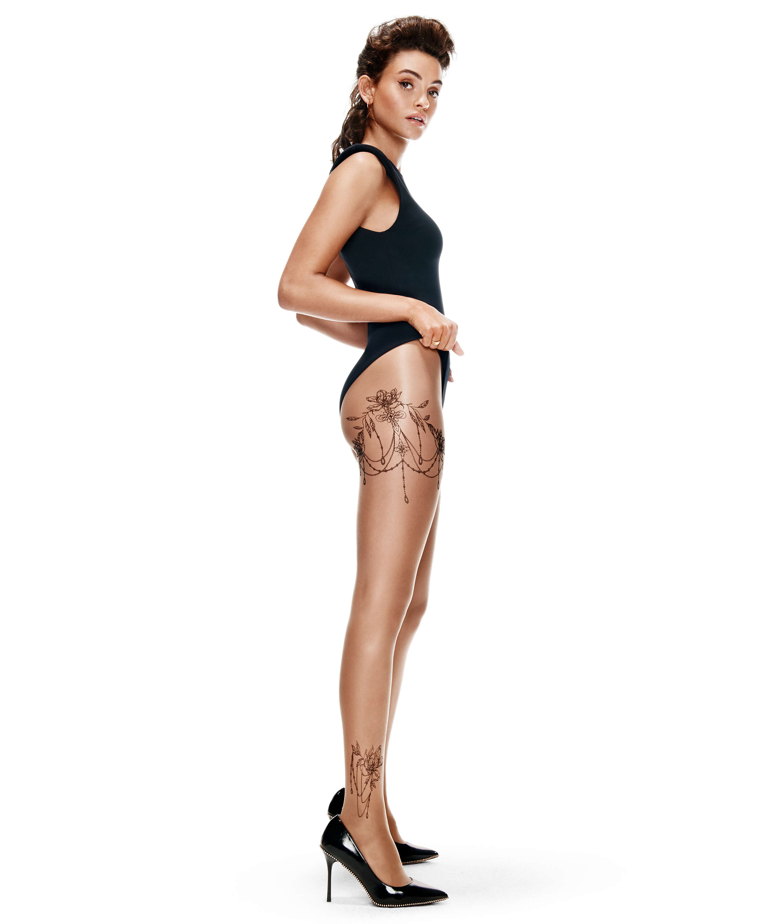 Tights 15 Denier Leg Tattoos, Beige, main