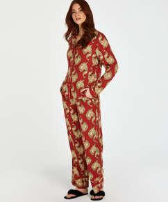 Graphic Peacock Long-Sleeved Pyjama Top, Pink