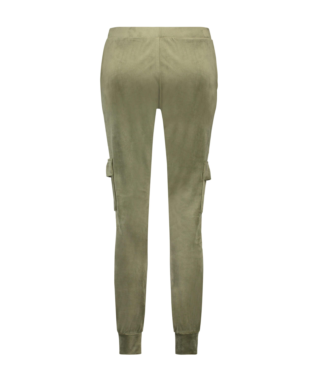 Velvet Jogging Pants Cargo, Green, main