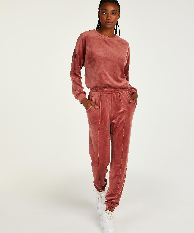 Tall Velour Jogging Pants Pin-tucked, Pink, main